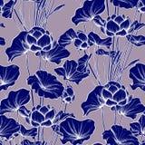 Bezszwowy wzór, tło z lotosowym kwiatem Botaniczny illust ilustracja wektor