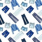 Bezszwowy wzór tło z różnym drelichem i cajgami odziewa - All over - Zdjęcia Royalty Free