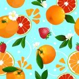 Bezszwowy wzór tangerines Zdjęcia Royalty Free