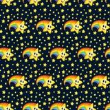 Bezszwowy wzór, tapeta, dzieciak piżamy kreskówki gwiazda z tęcza ogonu uśmiechu Emoji maskotki zasięg podwyżki wektorem ilustracji