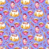 Bezszwowy wzór tort, babeczka i cranberry, Obrazek deser Akwareli ręka rysująca ilustracja biały obraz royalty free