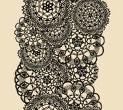 Bezszwowy wzór trykotowa koronka, czarna sylwetka na beżowym tle Zdjęcie Royalty Free