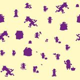 Bezszwowy wzór, trzy świni i wilk, purpurowy charakter na beżowym tle royalty ilustracja