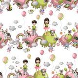 Bezszwowy wzór w kreskówka stylu z dziećmi, zabawki, zwierzęta domowe, cukierki, lody, szybko się zwiększać Dziecka pojęcia tapet fotografia royalty free