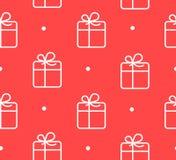 Bezszwowy wzór w polki kropce z prezenta pudełkiem na czerwonym tle Zdjęcie Stock