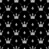 Bezszwowy wzór w retro stylu z białą koroną na czarnym tle Może używać dla tapety, deseniowe pełnie, sieć Zdjęcia Stock