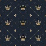 Bezszwowy wzór w retro stylu z złocistą koroną na błękitnym tle Zdjęcie Royalty Free
