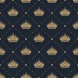 Bezszwowy wzór w retro stylu z złocistą koroną na błękitnym tle Może używać dla tapety, deseniowe pełnie, strony internetowej bac Zdjęcia Royalty Free
