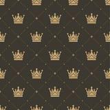 Bezszwowy wzór w retro stylu z złocistą koroną na brown tle Może używać dla tapety, deseniowe pełnie, sieć Obraz Stock