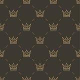 Bezszwowy wzór w retro stylu z złocistą koroną na brown tle Może używać dla tapety, deseniowe pełnie, sieć Fotografia Royalty Free