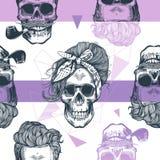 Bezszwowy wzór w wystrzał sztuki stylu z zredukowanymi kobiet głowami, moda szalikiem i fryzurą, przeciw trójbokowi i purpurom royalty ilustracja