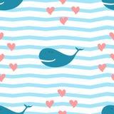Bezszwowy wzór wieloryb i serca Zdjęcia Royalty Free