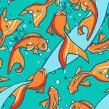 Bezszwowy wzór złoto łowi w wodzie. Zdjęcia Royalty Free