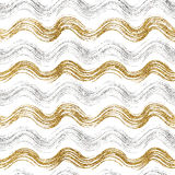 Bezszwowy wzór złoto i srebni faliści lampasy Obraz Stock