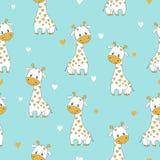 Bezszwowy wzór z śliczną kreskówki żyrafą Fotografia Royalty Free