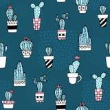 Bezszwowy wzór z ślicznym kaktusem i ręki rysować teksturami Doskonalić dla tkaniny, tkanina Wektorowy tło Zdjęcia Stock