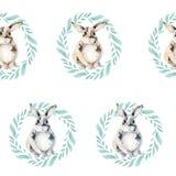 Bezszwowy wzór z ślicznym królikiem w wianku zieleni liście Dobry mały królik na białym tle obrazy royalty free
