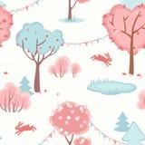 Bezszwowy wzór z ślicznym lasem miłość Zdjęcie Royalty Free