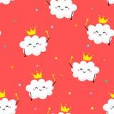 Bezszwowy wzór z ślicznym obłocznym Princess i coloured gwiazdami Zdjęcia Royalty Free