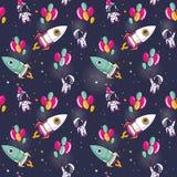 Bezszwowy wzór z ślicznymi astronauta i rakietami na balonach w przestrzeni royalty ilustracja