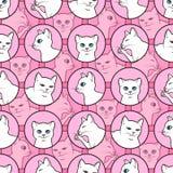 Bezszwowy wzór z ślicznymi białymi kotami royalty ilustracja
