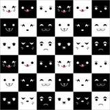 Bezszwowy wzór z ślicznymi cartoonfaces Zdjęcia Stock
