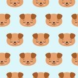 Bezszwowy wzór z ślicznymi dosypianie psami Wektorowy zwierzęcy tło Śliczny bezszwowy wzór z szczeniakiem ilustracja wektor