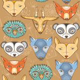 Bezszwowy wzór z ślicznymi dzikimi zwierzętami i roślinami Zdjęcie Stock