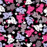 Bezszwowy wzór z ślicznymi kawaii doodle kotami ilustracja wektor