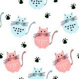 Bezszwowy wzór z ślicznymi kotami w scandinavian stylu royalty ilustracja