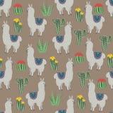 Bezszwowy wzór z Ślicznymi lamami i kwiatami, kaktusy, sukulenty Ręki rysunkowy mieszkanie doodles wektor ilustracji
