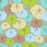 Bezszwowy wzór z ślicznymi parasolami wektor ilustracji