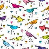 Bezszwowy wzór z ślicznymi ptakami i sercami na białym tle Obraz Stock