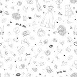 Bezszwowy wzór z ślubnymi ikonami Poślubiać, małżeństwo, bridal Ręka Rysujący wektorowy tło Fotografia Stock