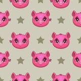Bezszwowy wzór z śmiesznymi świniowatymi twarzami Fotografia Royalty Free