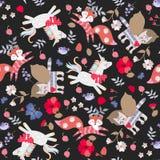 Bezszwowy wzór z śmiesznymi bajek jednorożec, oskrzydlonymi koty, rogaci lisy, kwiaty, liście, ptaki i motyle odizolowywać, ilustracja wektor