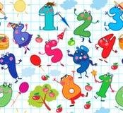 Bezszwowy wzór z śmiesznymi kreskówek liczbami na chekered prześcieradle v ilustracji