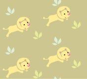 Bezszwowy wzór z śmiesznymi lwami Obrazy Stock