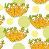 Bezszwowy wzór z śmiesznymi marchewkami royalty ilustracja