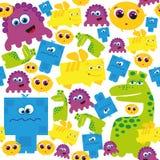 Bezszwowy wzór z śmiesznymi potworami ilustracja wektor