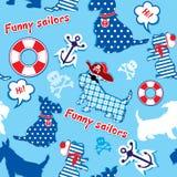 Bezszwowy wzór z śmiesznymi szkockimi terierów psami  ilustracji