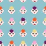 Bezszwowy wzór z śmiesznymi twarzami Wizerunek barwiony włosy różni kolory i różne emocje ilustracji