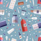 Bezszwowy wzór z środków farmaceutycznych lekarstwami w lub lekami na błękicie butelkach, słojach, tubkach, bąblach i medycznych  ilustracji