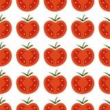 Bezszwowy wzór z świeżą czerwienią i żółci czereśniowi pomidory na wh Obrazy Stock