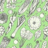 Bezszwowy wzór z świeżymi warzywami Kukurudza, czereśniowi pomidory, asparagus, karczoch, kabaczek, marchewki, szpinak, leek i ka royalty ilustracja