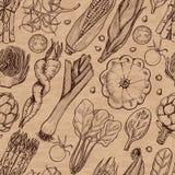 Bezszwowy wzór z świeżymi warzywami Kukurudza, czereśniowi pomidory, asparagus, karczoch, kabaczek, marchewki, szpinak, leek i ka ilustracja wektor
