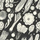 Bezszwowy wzór z świeżymi warzywami Kukurudza, czereśniowi pomidory, asparagus, karczoch, kabaczek, marchewki, szpinak, leek i Zdjęcia Royalty Free