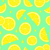 Bezszwowy wzór z żółtą cytryną pokrajać i zaplamia ilustracja wektor