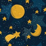 Bezszwowy wzór z żółtą księżyc, gwiazdami i kometą z twarzami, Fotografia Royalty Free