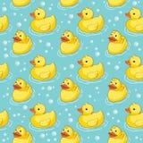 Bezszwowy wzór z żółtymi kaczkami Obrazy Royalty Free